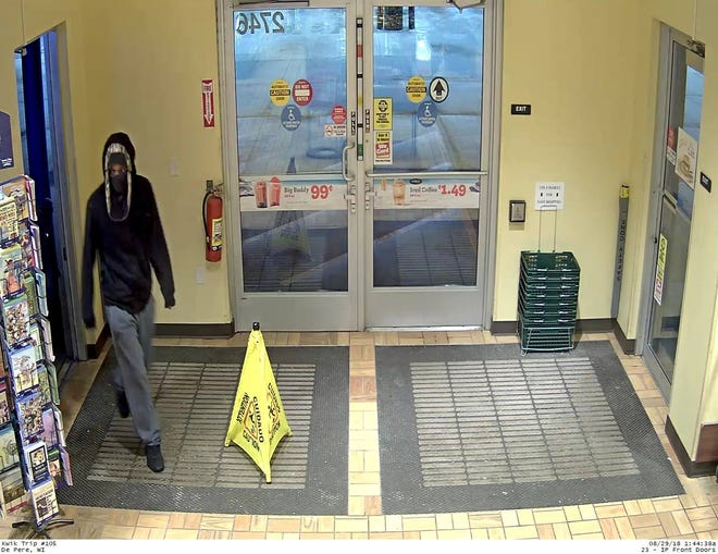 Store surveillance photo of the suspect in an armed robbery early Wednesday morning at Kwik Trip, 2746 Freedom Road, in Lawrence.