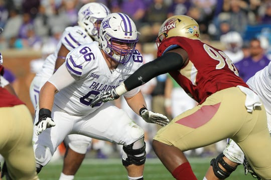 Furman's Reed Kroeber (66) started all 13 games for the Paladins as a redshirt freshman last season.