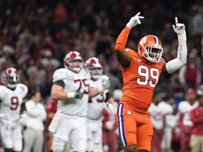 Clemson's Clelin Ferrell (99) savors a sack against Alabama in the Sugar Bowl.