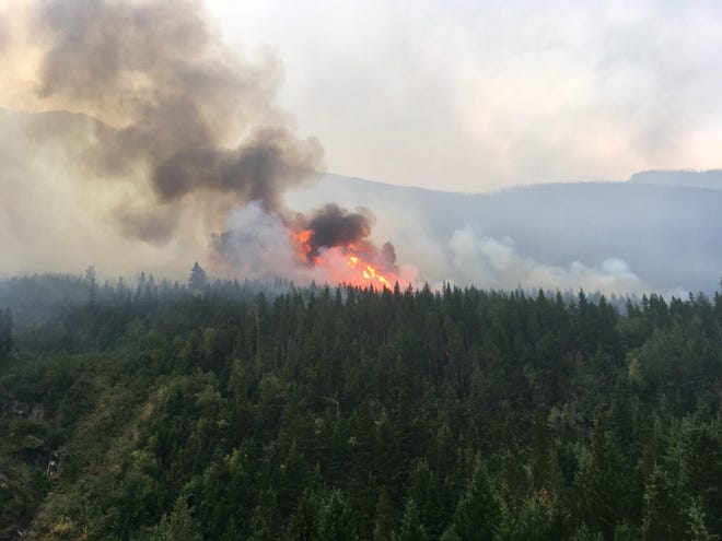 The Boundary Fire in northeast Glacier National Park, pictured on Aug. 26, remains at just over 2100 acres as of Thursday morning.