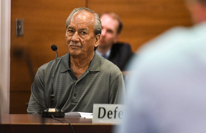 Former land surveyor Thomas Anderson listens to remarks made by prosecutors as appears before Superior Court of Guam Judge Michael Bordallo for his change of plea hearing in Hagåtña on Thursday, Aug. 30, 2018.
