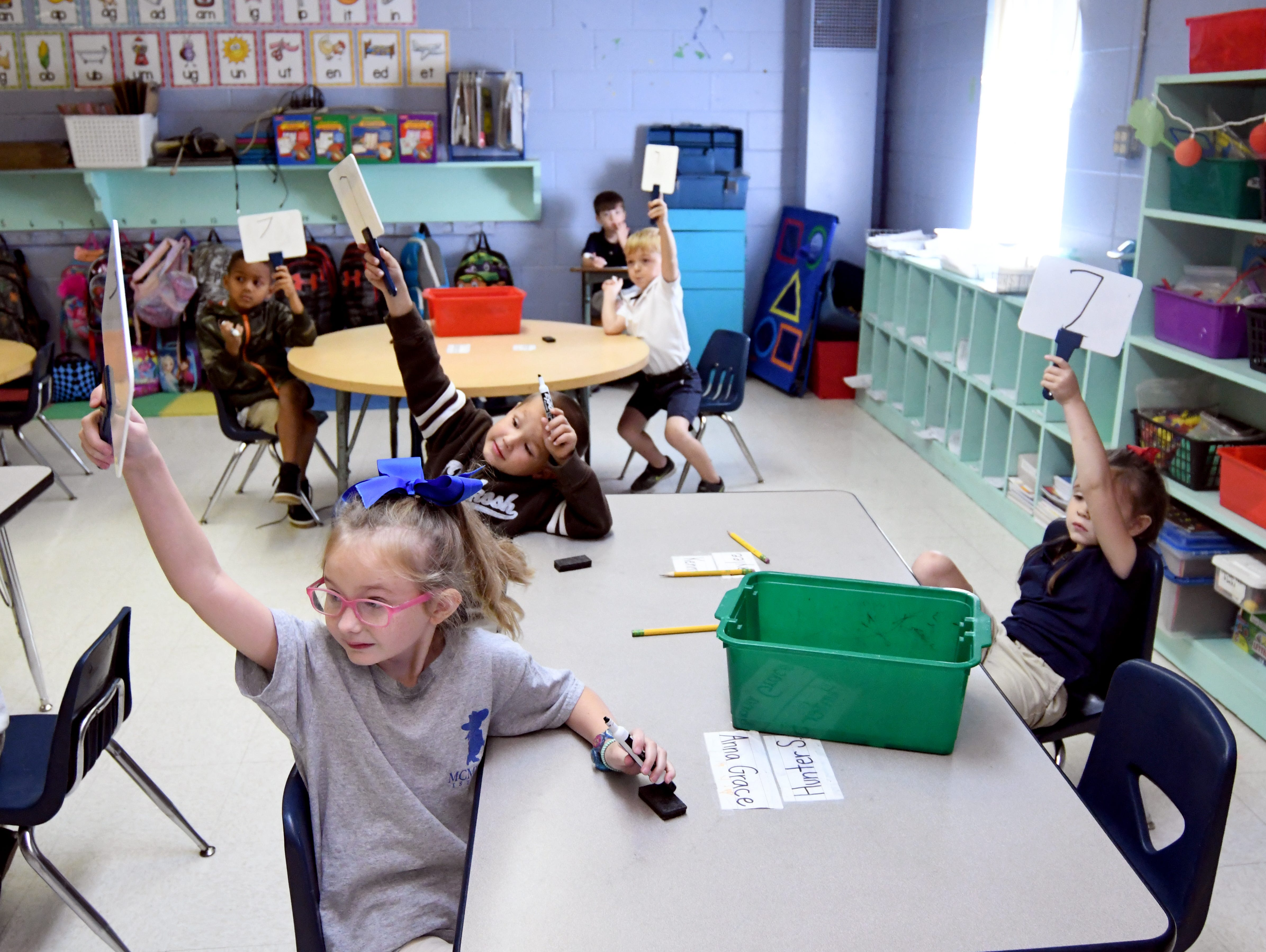 Kindergartners learn numbers and letters at South Forrest Attendance Center on Thursday, August 30, 2018. Kindergarten students and teachers are striving to be No. 1 in the state, after coming in second on the kindergarten readiness test this spring.