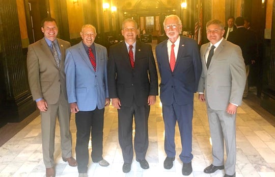 From left, Reps. Chris Johnson and Larry Byrd, Forrest County Supervisor David Hogan and Sens. Billy Hudson and Joey Fillingane meet at the Capitol in Jackson.