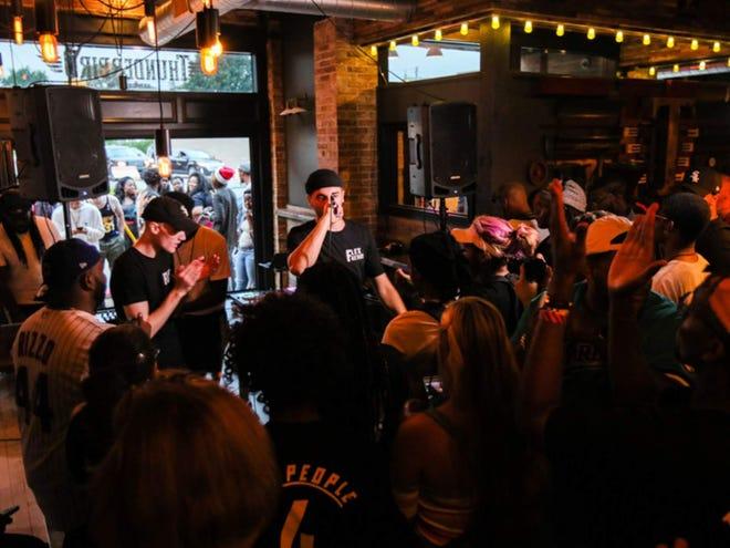 Double A performs at Fountain Square's Thunderbird during Saturday's Chreece hip-hop festival.