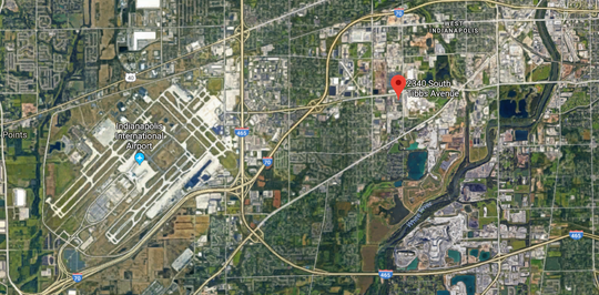 An aerial view of the former A&A Oil site on Indianapolis' southwest side, near the Rolls Royce facilities and Indianapolis International Airport. This site is currently the subject of an EPA cleanup that began Wednesday due to hazardous waste contamination at the site.