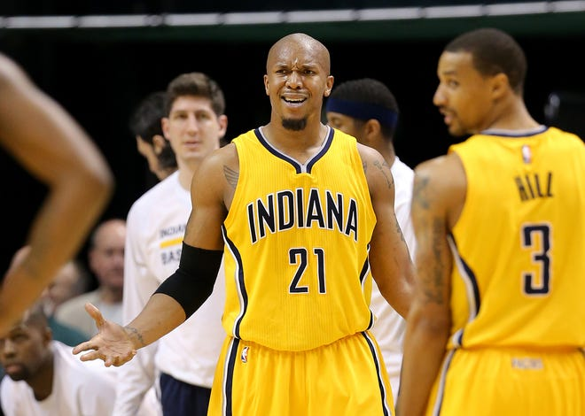 FILE -- Indiana Pacers forward David West is frustrated with a call in the second half of the game against the Wizards. The Pacers beat the Washington Wizards 99-95 in double overtime at Bankers Life Fieldhouse on Tuesday, April 14, 2015.