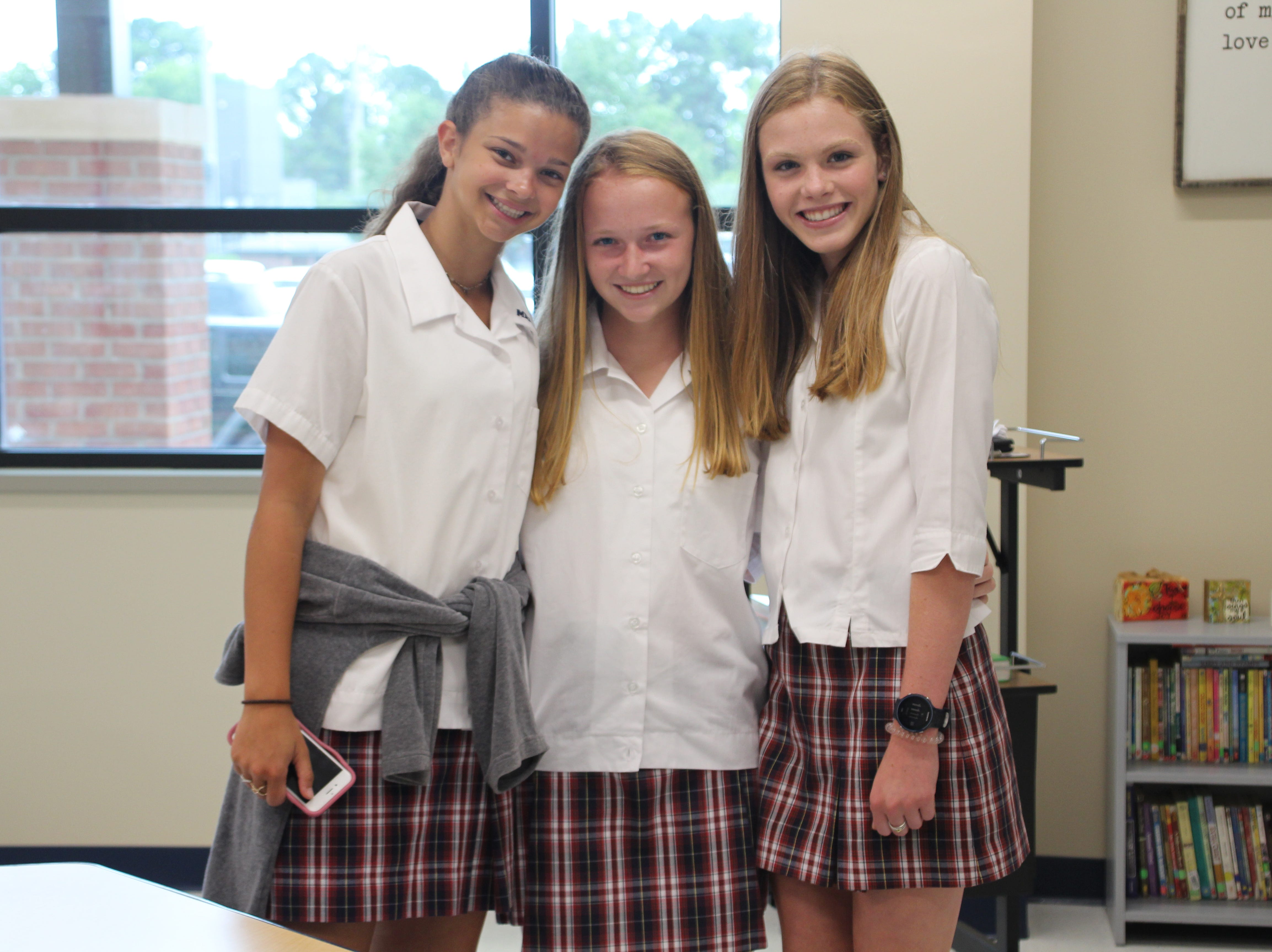 MRA 9th grade students, from left, Avery James, Hunter Thompson and Sloane Vinson are excited about the new facilities.