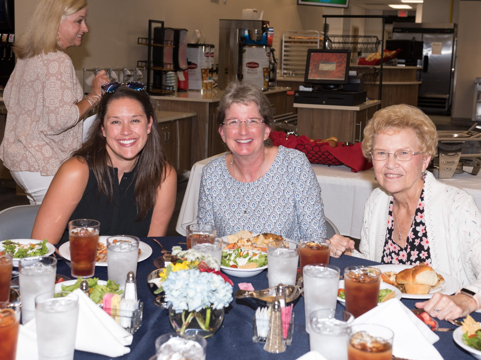MRA faculty members, from left, Frances Dykes, Donna Allen and Wren Gregory enjoy the festivities. Dykes and Allen are alumni.