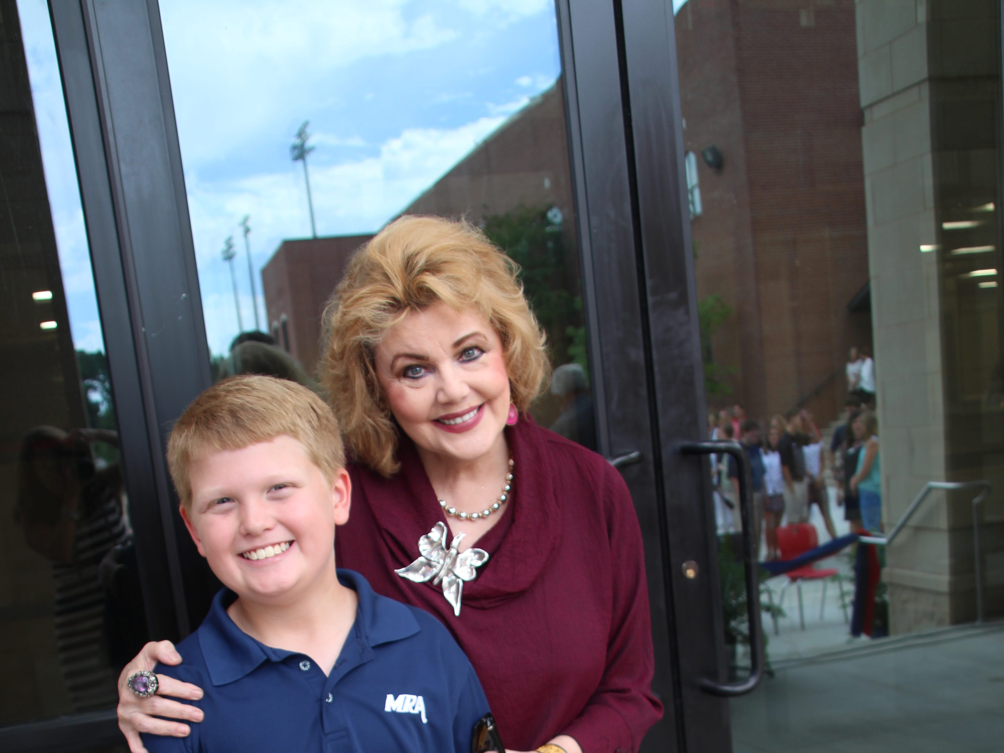 Madison Mayor Mary Hawkins Butler and Student Council Member Thomas Blanks strike a pose.
