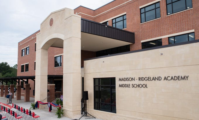 The New Madison-Ridgeland Academy Middle School building is decked out for its ribbon-cutting ceremony.