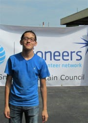 Fulton High School student Adrian Mota got involved through the school's Key Club. AT&T Pioneers Build a Bed, Aug. 25, 2018