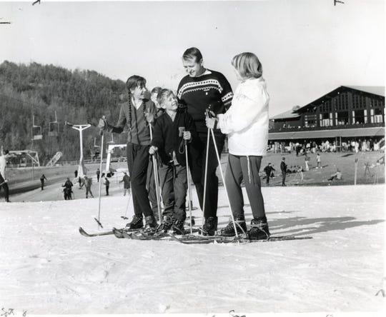 Rolf Lanz gives ski lessons at Gatlinburg Ski resort in 1965.