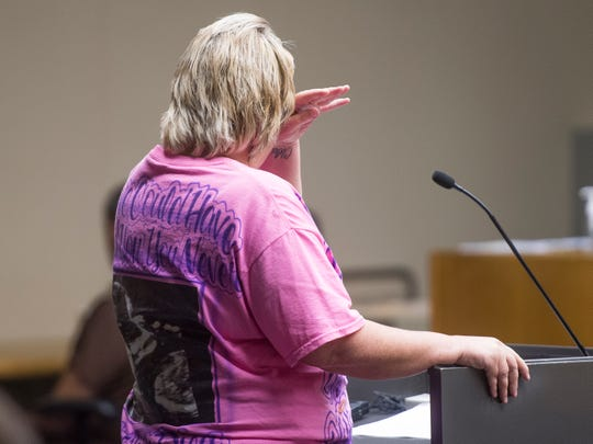 Marcia Crider's mother, Pebble Crider Jones, wipes tears away as she gives her victim impact statement in Knox County Criminal Court on Thursday, August 30, 2018.