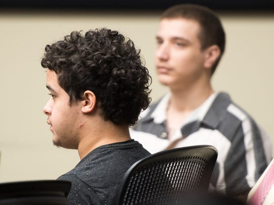 Justin Gonzalez, left, in Knox County Criminal Court on Thursday, August 30, 2018.
