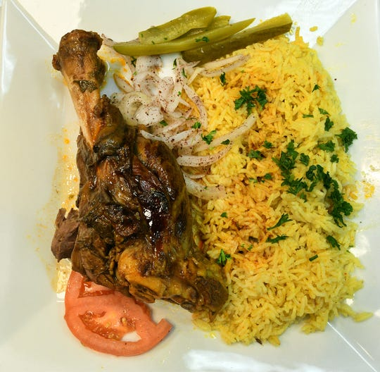 Lamb shank dish at Sahara Mediterranean and Indian restaurant on Tuesday, August 28, 2018.