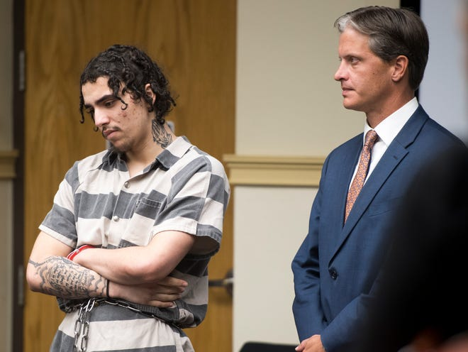 Cameron Brewer, left, in Knox County Criminal Court on Thursday, August 30, 2018.