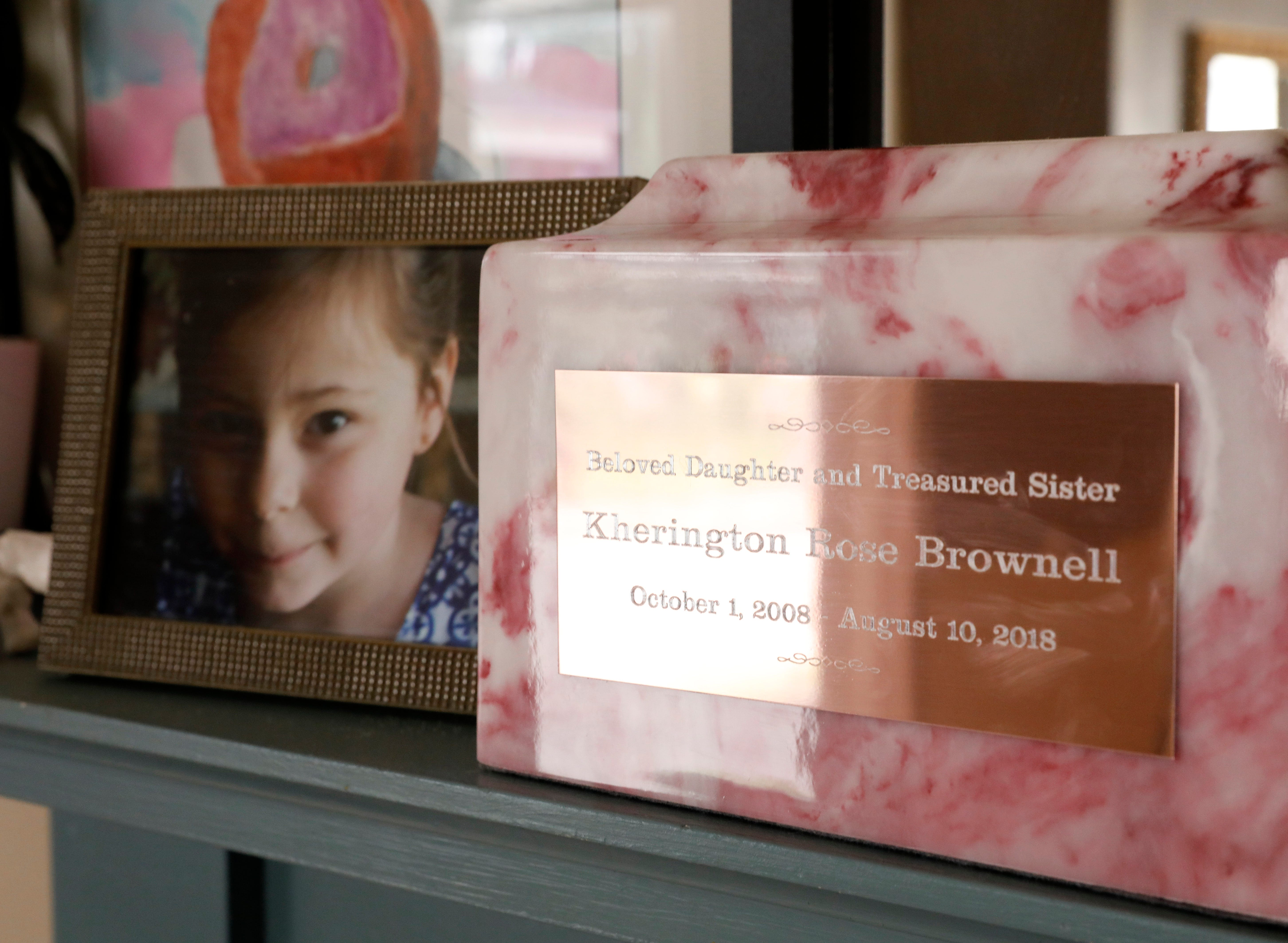 A photograph of Kherington Brownell sits on the mantle next to her cremains Wednesday, Aug. 30, 2018, at her mother's home in Lancaster.
