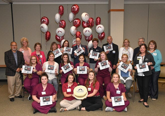Leadership from Mount Carmel College of Nursing, Fairfield Medical Center and Ohio University-Lancaster joined Lancaster students for a 10th anniversary celebration of the partnership between Mount Carmel College of Nursing and Fairfield Medical Center. This celebration was Aug. 24.