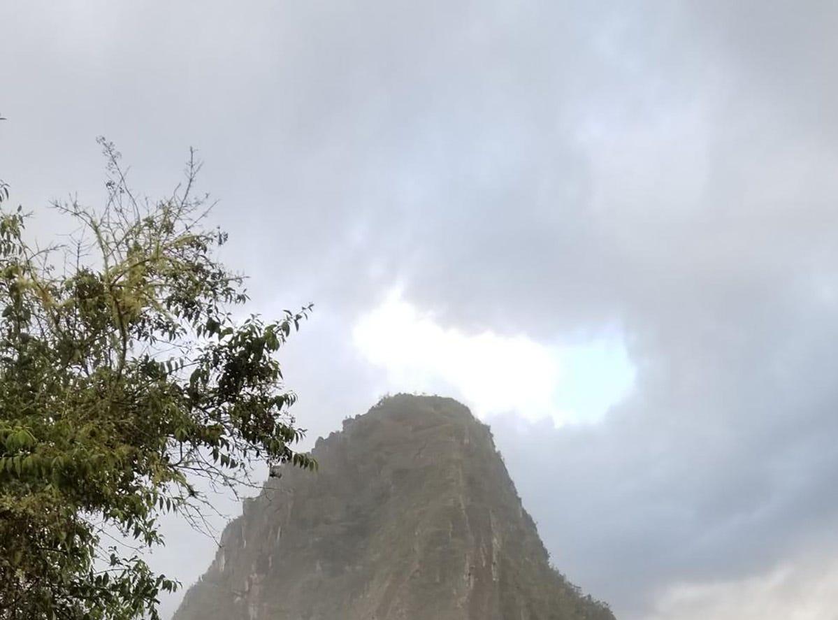The enterance to climb Huayna Picchu at Machu Picchu, Peru