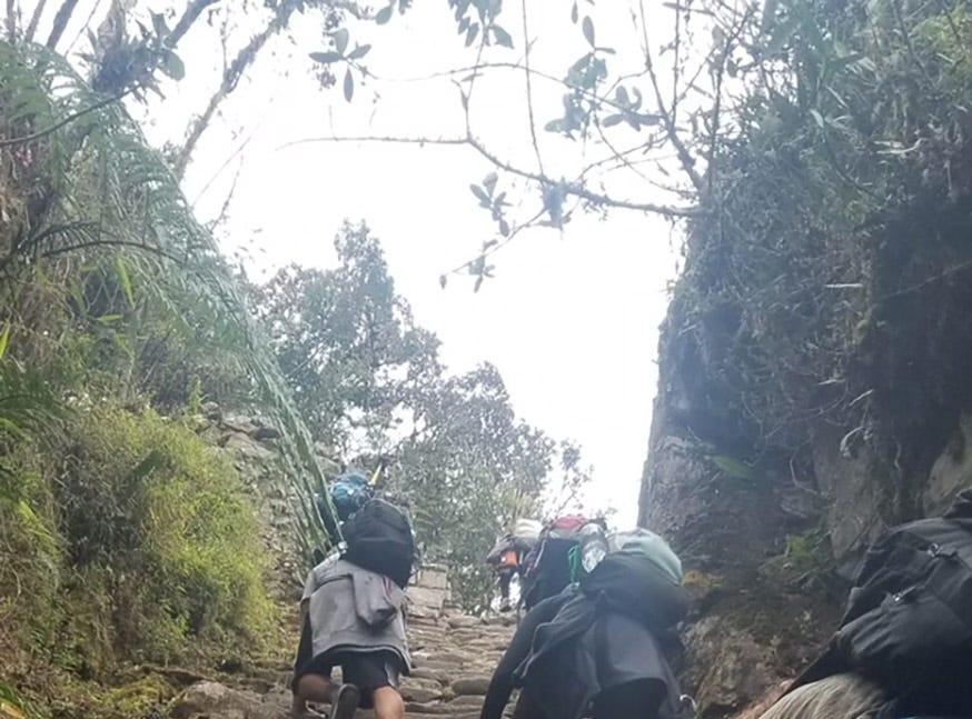 Hiking the Inca Trail on the way to  Machu Picchu