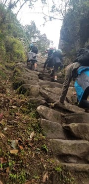 Hiking the Inca Trail on the way to  Machu Picchu