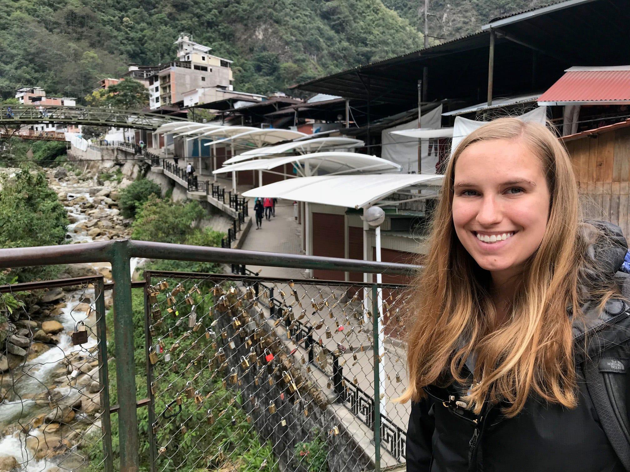 Elliott Grantz in the town of Machu Picchu Pueblo at the base of Machu Picchu