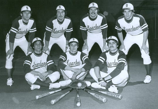Members of the 1979 Michigan State baseball team, standing from left: Mark Sutherland, Larry Hohs, Jim Cotter and Randy Hop. Seated from left are Joe Lopez, Eric Rosekrans and Randy Bastien.
