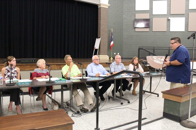 Transportation supervisor Mike Yost speaks with the Madison school board Wednesday, June 29, 2018. Yost discussed busing in the district.