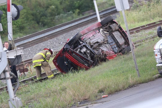 Emergency crews were called to the scene of a rollover crash on North Main Street near the railroad tracks around 5:45 p.m. Thursday.