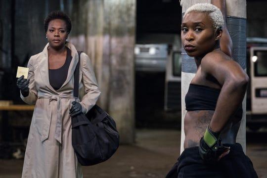"Viola Davis (left) and Cynthia Erivo star in ""Widows."""