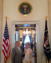Baxter County justices of the pace Lucille Soltysik (left) and Edna Fusco pose for a photograph inside the White House.