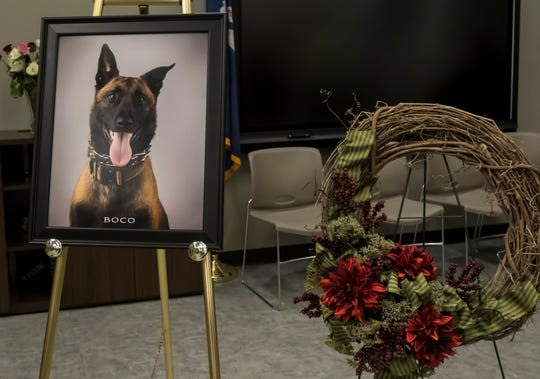 A photo of sergeant Boco and a wreath commemorate the K-9 deputy who was killed in the line of duty while pursuing a suspect on August 17. The photo and wreath were placed at the Lincoln Parish Public Safety Complex in Ruston, La. after a funeral serivce the K-9 deputy at Thomas Assembly Center at Louisiana Tech University in Ruston, La. on August 30.