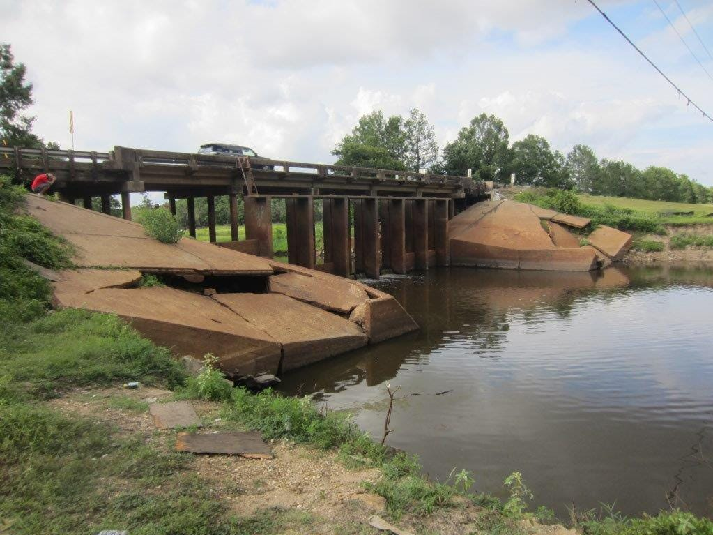 Police Juror Jack Clampit, District B, provided photos of damage to the Cheniere Brake spillway taken July 10, 2018.