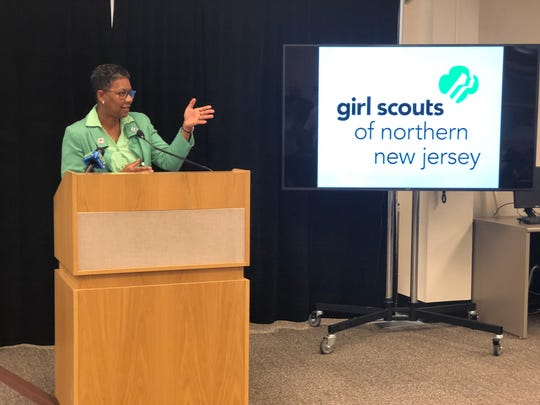 Dr. Bette Simmons, vice president of Student Development and Enrollment Management at County College of Morris and chair of the Board of Directors for the Girl Scouts of Northern New Jersey, speaks at the reception held at CCM announcing the launch of new national badges in cybersecurity and other STEM fields.