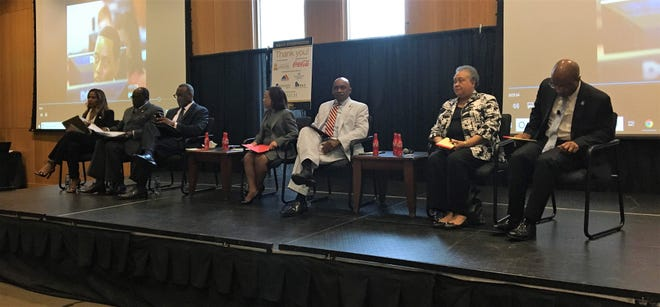 Seven higher education leaders participated in an HBCU Symposium hosted by Alabama State University on Wednesday, Aug. 29. From left to right: Roslyn Artis, Andrew Hugine, Jonathan Holifield, Lily McNair, Samuel Munnerlyn, Belle Wheelan and Harry Williams.