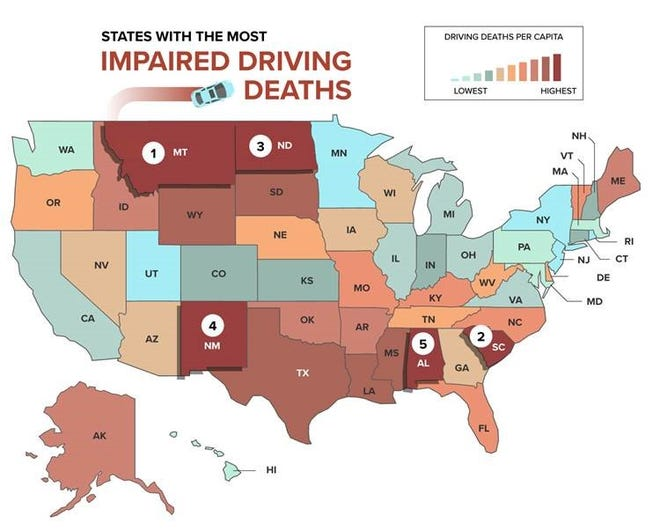 Alabama was named the fifth highest state for impaired driving deaths.
