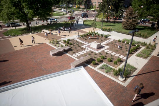 New updates to the plaza in front of Emen's Auditorium give it a new look. The new contemporary space spotlights gardens; the two sculptures; a brick driveway/drop-off area for vehicles that is also intended to be a forecourt for the planned East Mall and more.