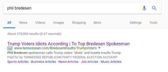 This Google ad and others have been updated to say they've been paid for by the Tennessee Republican Party.