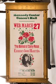 "A poster for a 1985 concert Emmylou Harris played at the Kennedy Center while on her ""The Ballad of Sally Rose"" tour."