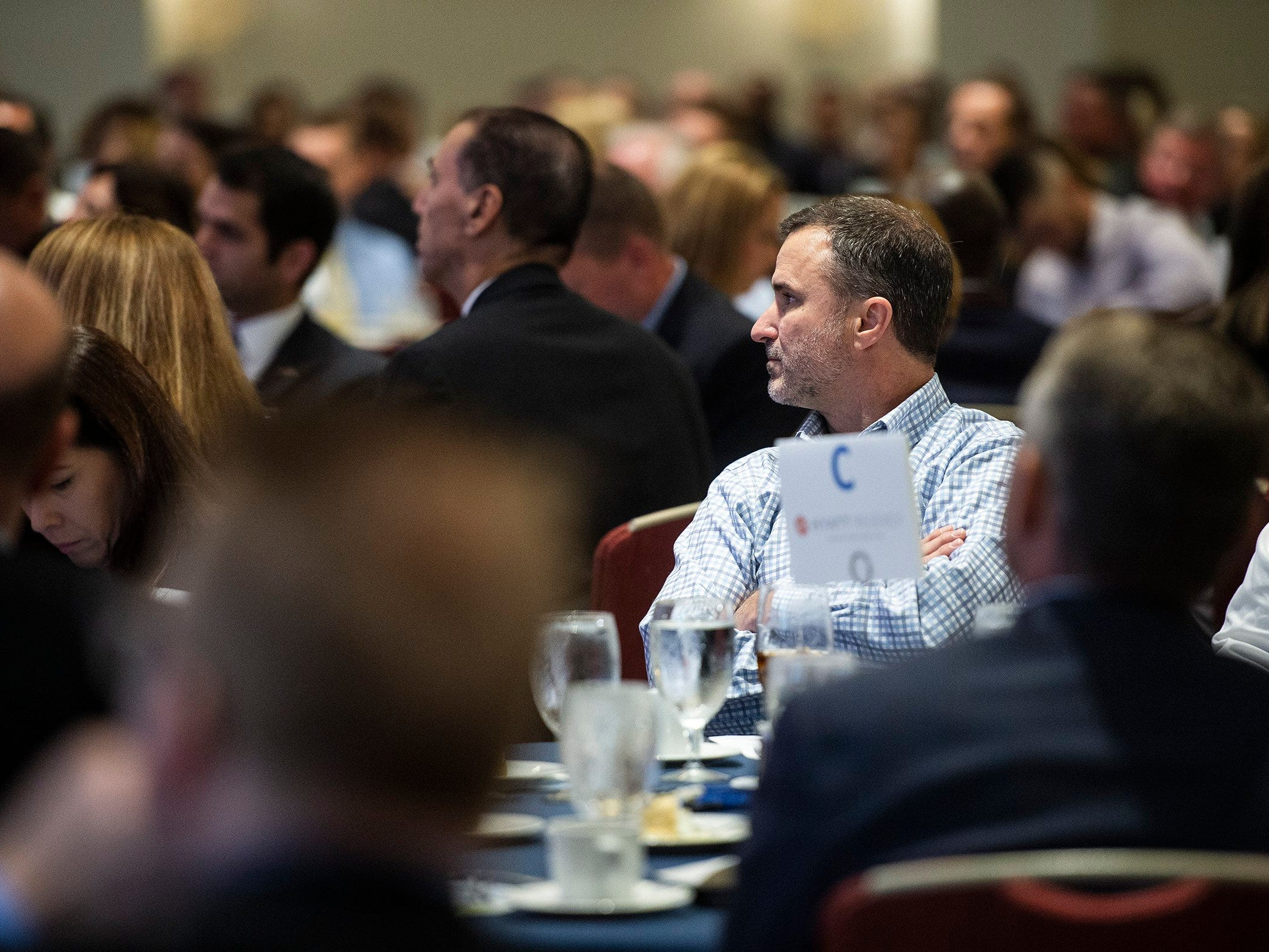 Members look on during the Bonita Springs Area Chamber of Commerce Awards Luncheon at the Hyatt Regency Coconut Point in Estero on Thursday, Aug. 30, 2018.
