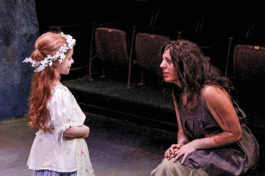 """Talia Cuomo (left) performs opposite Regina Gibson in the Actors Equity Association production of """"Leah, The Forsaken,"""" at the Metropolitan Playhouse in New York City."""