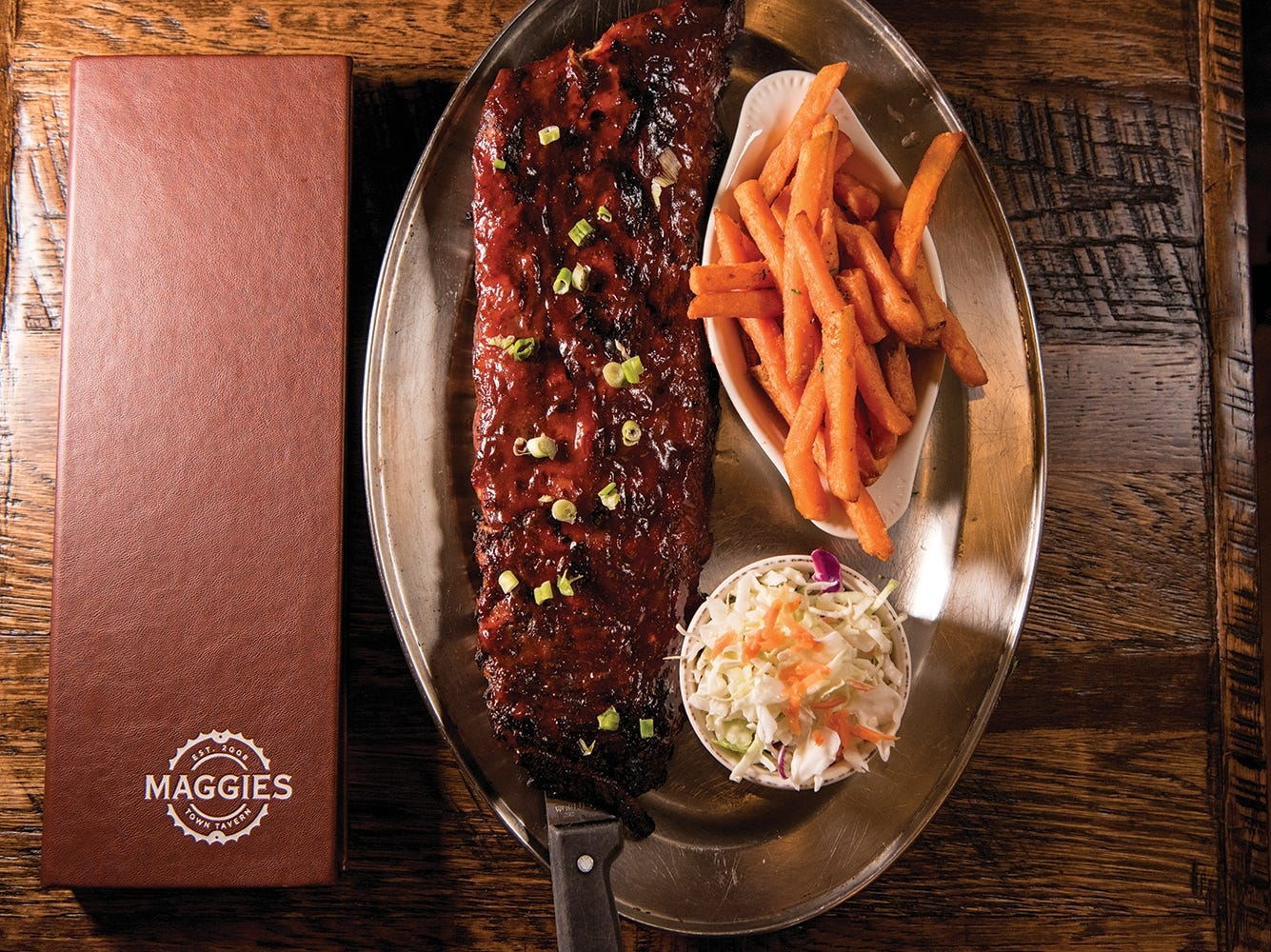 Rack of ribs at Maggie's Town Tavern in Wayne, NJ shown on Thursday May 31, 2018.