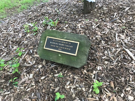 One of the plaques under a memorial tree in the River Edge Arboretum.