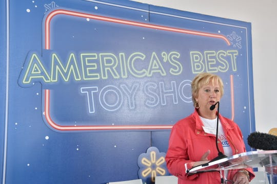 Anne Marie Kehoe, CEO of Toys at Walmart, speaks at Walmart's holiday toy event in New York, NY.