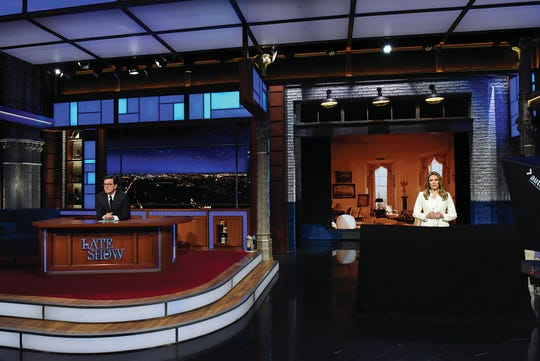 The Late Show with Stephen Colbert and guest  Laura Benanti during Wednesday\'s January 31, 2018 show. Photo: Scott Kowalchyk/CBS ©2018 CBS Broadcasting Inc. All Rights Reserved.