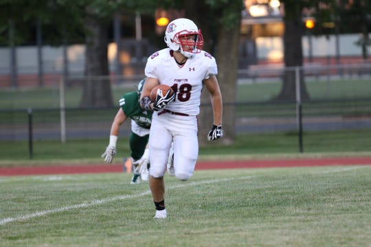 Senior wide receiver John Tanis finding some open field during Pompton Lakes' season opener at New Milford in an NJIC North, Liberty Division matchup on Thursday, Aug. 30, 2018.