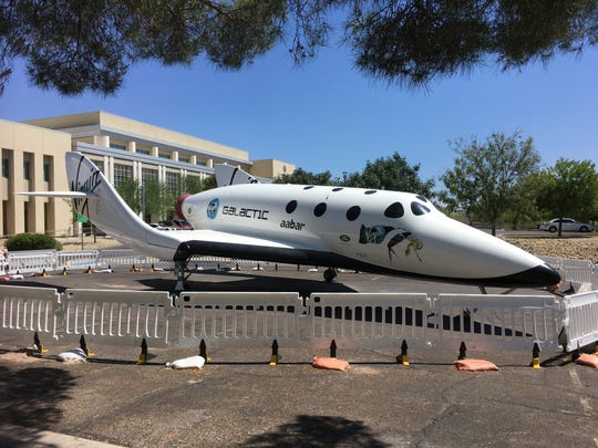 A replica spacecraft has been parked outside of Las Cruces city hall since the inaugural Las Cruces Space Festival in April. Firth told the Sun-News that the craft is on a six-month loan to the city, and would be departing from city hall's parking lot this fall.