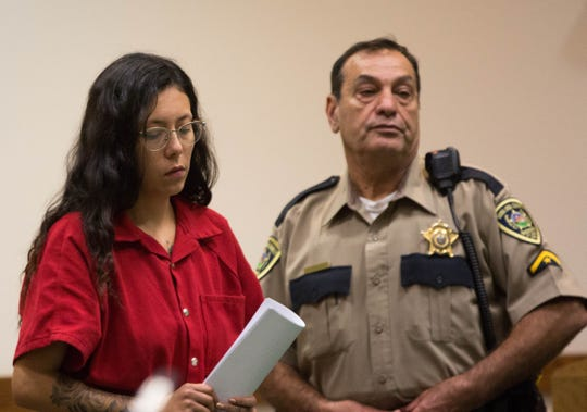 Destiny Lara walks into a pre-trial detention hearing in the shooting death of Raymond Hernandez, Thursday, Aug. 30, 2018 at the Third Judicial District Court.