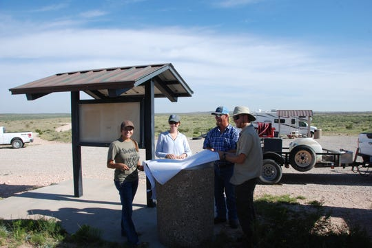 Left to right, Bureau of Land Management employees Jana Onsurez, Bri Asuncion, Frank Weaver, Kyle Raybacki. The team worked to update kiosk information for the public at Hackberry Lake Aug. 29.