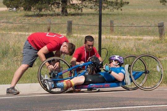 Team Air Force Master Sgt. Lisa Goad competes in cycling during the 2018 DoD Warrior Games at the U.S. Air Force Academy in Colorado Springs on June 6, 2018.  The Warrior Games are an annual event, established in 2010, to introduce wounded, ill and injured service members to adaptive sports as a way to enhance their recovery and rehabilitation.